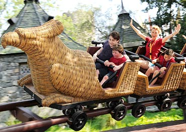 Daniel Radcliffe rides the Flight of the Hippogriff attraction at Universal Orlando Resort in Florida