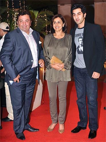 Rishi Kapoor, Neetu Singh and Ranbir Kapoor