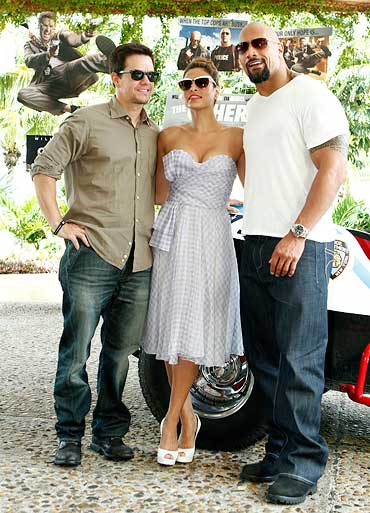 Mark Wahlberg, Eva Mendes and Dwayne Johnson