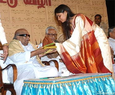 TN Chief Minister Karunanidhi and Chinmayi