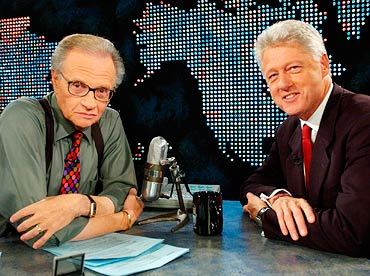 Larry King and former President Bill Clinton