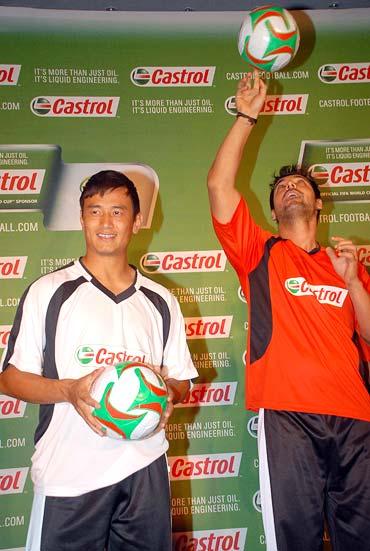 Baichung Bhutia and John Abraham