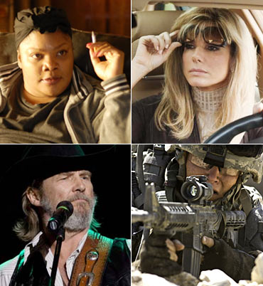 Clockwise: MoNique, Sandra Bullock, The Hurt Locker and Jeff Bridges
