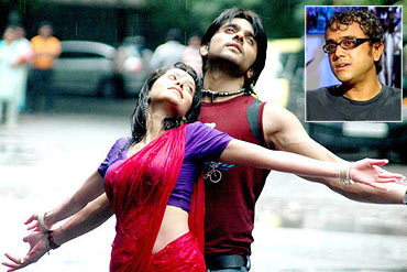 A scene from Love Sex Aur Dhokha with an inset of Dibakar Banerjee