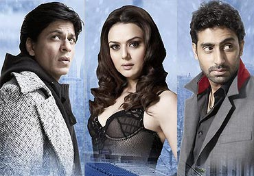 Shah Rukh Khan, Preity Zinta and Abhishek Bachchan