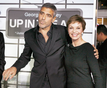 George Clooney with mother Nina