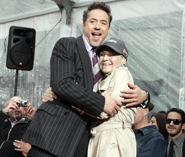 Robert Downey Jr. with his mother Elise