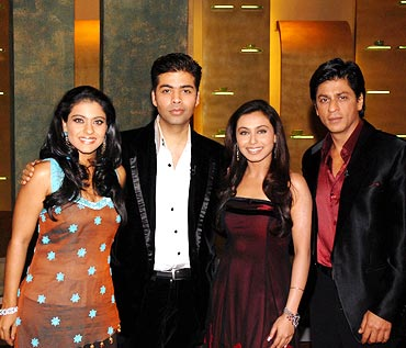 Kajol, Karan Johar, Rani Mukerji and Shah Rukh Khan on Coffee With Karan