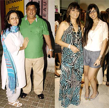David Dhawan with wife Karuna and Neeta Lulla with daughter Nishka