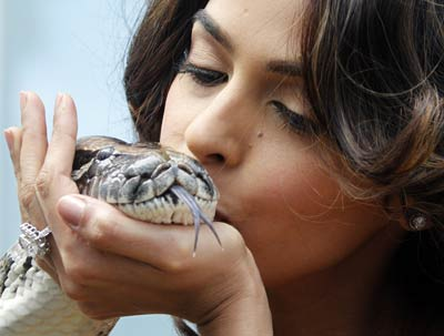 Mallika Sherawat kisses a snake as she poses during a photocall to promote her Hisss