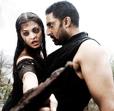 Aishwarya Rai and Abhishek Bachchan in Raavan