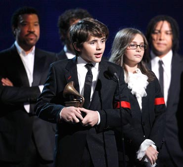 Prince Michael Jackson and Paris Jackson accept an honorary Grammy at the 52nd annual Grammy Awards