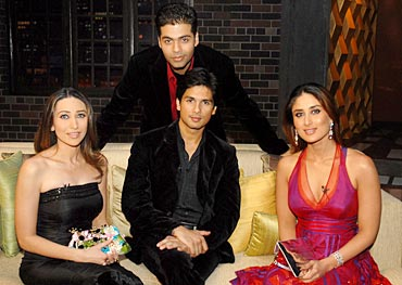 Karan with Karisma, Shahid and Kareena in a previous season