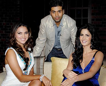 Karan with Lara Dutta and Katrina Kaif