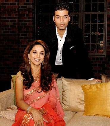 Karan Johar with Madhuri Dixit in a previous season