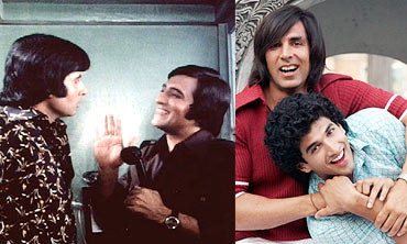 Amitabh Bachchan and Vinod Khanna, and a scene from Action Replayy