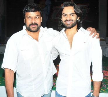 Chiranjeevi with his nephew Sai Dharam