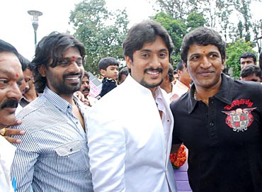Nutan, Ajay Rao and Puneet Rajkumar at the launch of  Krishnan Marriage Story