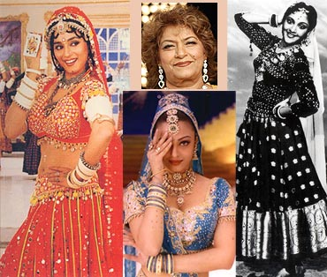 Collage of Madhuri Dixit, Saroj Khan,Vyjayanthimala and Ashwarya Rai Bachchan