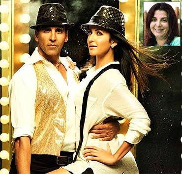 Akshay Kumar and Katrina Kaif in Tees Maar Khan. Inset: Farah Khan