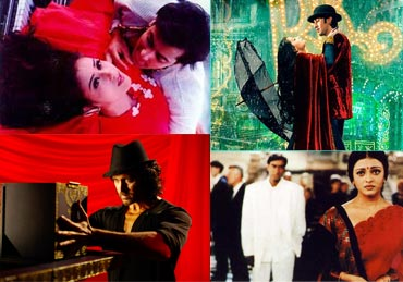Collage of Khamoshi-The Musical, Saawariya, Hum Dil De Chuke Sanam and Guzaarish