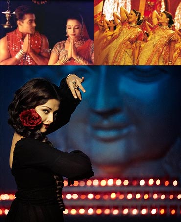 Collage of Hum Dil De Chuke Sanam, Devdas and Guzaarish