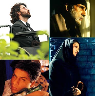 Collage of Guzaarish, Black, Saawariya and Devdas