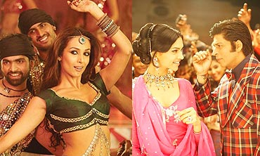 A scene from Dabangg and Om Shanti Om