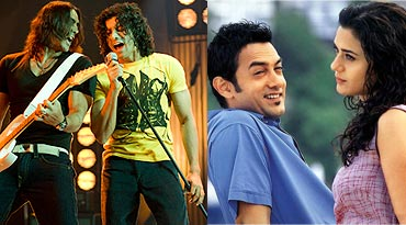 A scene from Rock On!! and Dil Chahta Hai