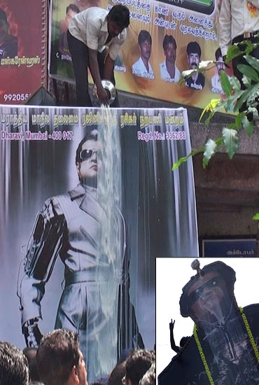 Rajnikanth's poster gets bathed with milk