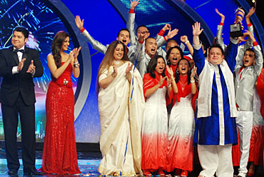 The Shillong choir with the judges of India's Got Talent