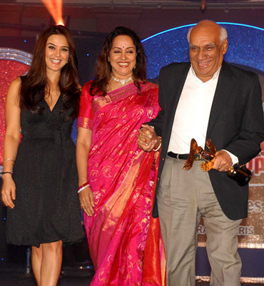 Preity Zinta, Hema Malini and Yash Chopra