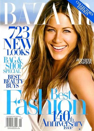 Jennifer Aniston on the cover of Harper magazine