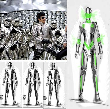 Sketches of the costumes and a scene from Endhiran