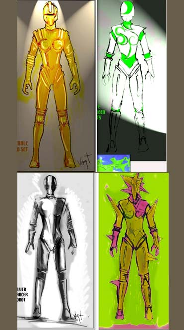 Sketches of Endhiran's costumes