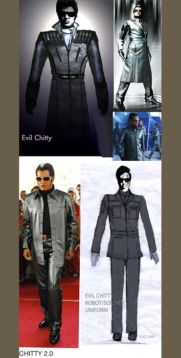 Sketches of the costumes and Rajnikanth in Endhiran
