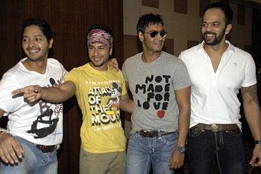 Shreyas Talpade, Kunal Khemu, Ajay Devgn and Rohit Shetty