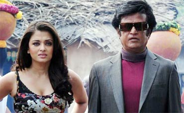 Rajnikanth and Aishwarya Rai Bachchan in Endhiran/ Robot