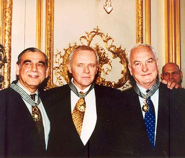 Actor Anthony Hopkins, center, in Paris with Ismail Merchant and James Ivory, right, in 1996