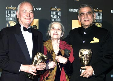 James Ivory, Ruth Prawer Jhabvala and Ismail Merchant receive a British Academy film fellowship at a ceremony in London in 2002. Remains of the Day, Room with a View and Howards End brought them huge acclaim.