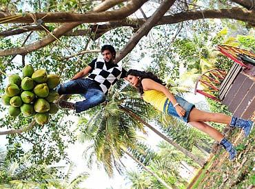 Chiranjeevi Sarja performs a stunt in Gandedhe