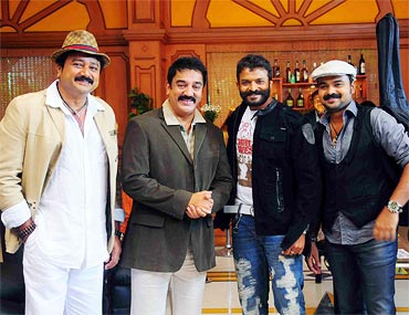 Jayaram, Kamal Hassan, Kunchacko Boban and Jayasurya in Four Friends