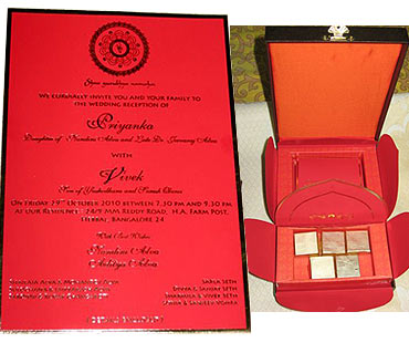 Vivek Oberoi's wedding card