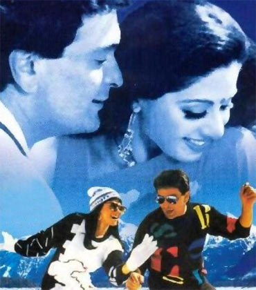 Sridevi and Rishi Kapoor in Chandni