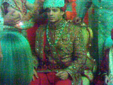Groom Vivek Oberoi during the Sehra Bandhi ceremony