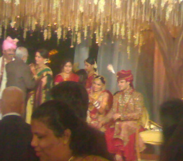 Vivek Oberoi with his bride Priyanka Alva after the ceremony