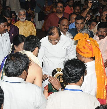 Home Minister P Chidambaram greets the couple