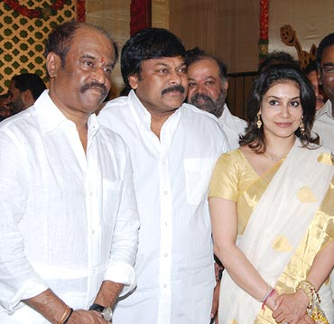Rajnikanth, actor Chiranjeevi and Lizy Priyadarshan