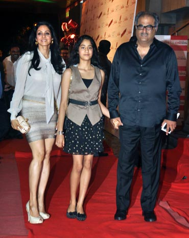 Sridevi, Jhanvi and Boney Kapoor