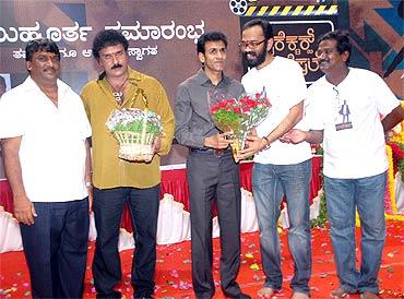Ravichandrana and Raghavendra Rajkumar with Tabala Naani and Guruprasada at the launch